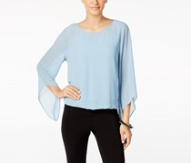Alfani Angel-Sleeve Blouson Top, Dusty Chambray