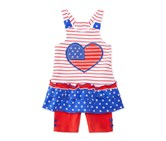 Nannette 2-Pc. Hearts Stripes Top, Red