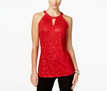 Inc International Concepts Sequin Halter Top, Real Red