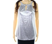 INC International Concepts Keyhole Halter Top, Silver