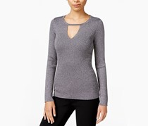 Inc International Concepts Metallic Keyhole Sweater, Silver Lurex