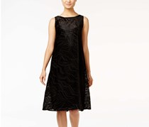 Alfani Women's Velvet Burnout A-Line Dress, Black