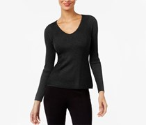 International Concepts Ribbed V-Neck Sweater, Deep Black