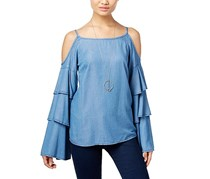 INC International Concepts Denim Ruffled Cold-Shoulder Top, Blue
