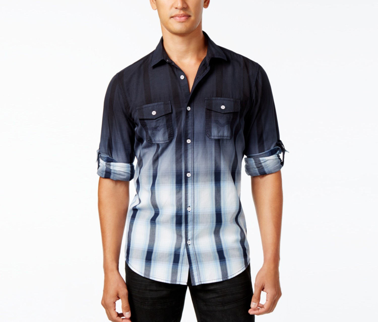 International Concepts Men's Dip-Dyed Cloudy Plaid Shirt, Basic Navy