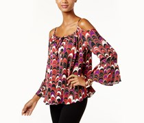 Inc Scallop-Print Cold-Shoulder Top, Scallop Feathers