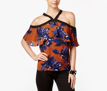 INC Printed Cold-Shoulder Top, Floral Essence