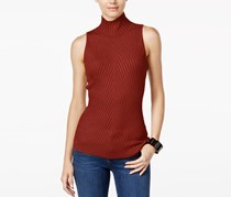 INC  Ribbed Mock-Neck Sweater Top, Burnt Pepper