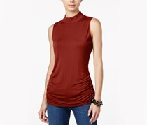 INC Petite Ruched Mock-Neck Top, Burnt Pepper