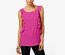 INC Ruffled Sleeveless Top, Magenta Flame