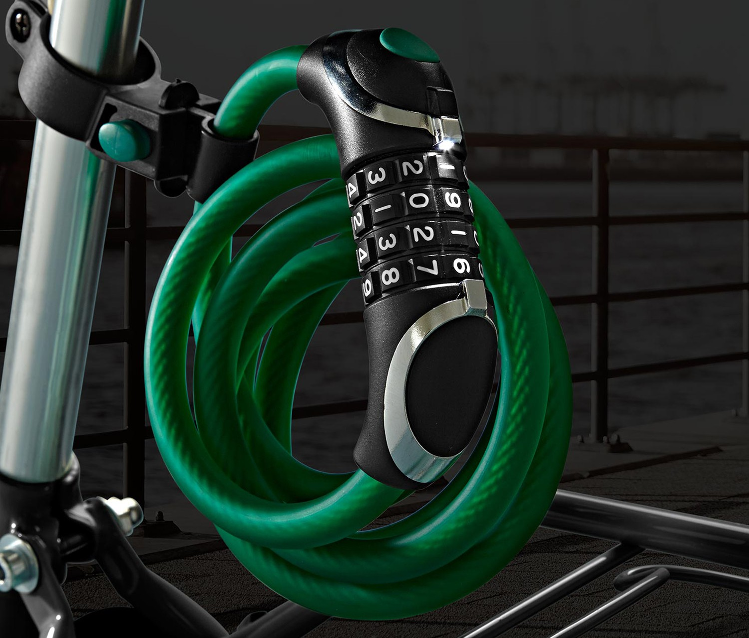 Steel Cable, LED, Combination Lock, Green/Black