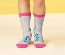 Girls  Kids, Socks, Animals, Set of 2, Light Gray/Blue Green
