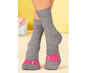 Women's Socks, Beach, 2 Pair, Pink/Grey