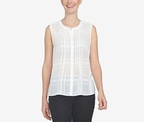 Cece  Women's Pintuck Shadow Plaid Blouse, New Ivory