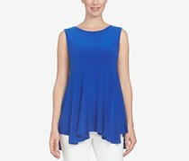 CeCe High-Low Handkerchief-Hem Top, Deep Cobalt