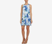 Floral-Print Shift Dress, Smoke Blue