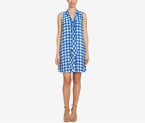 CeCe Tie-Neck Gingham-Print Dress, Deep Cobalt