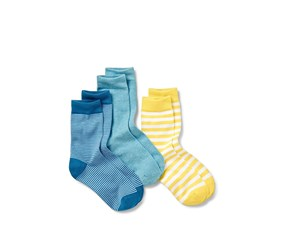 Women's Socks, 3 Pairs, Yellow/Blue Stripe