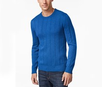 John Ashford Crew-Neck Striped-Texture Sweater, City Blue