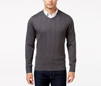 Mens V-Neck Striped-Texture Sweater, Charcoal Heather