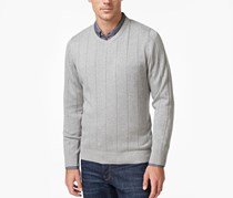 Men's V-Neck Striped-Texture Sweater, Grey