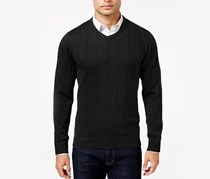 John Ashford Men's Pullover V-neck Sweater, Black