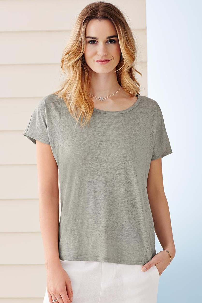 Women's Linen Shirt, Light Gray
