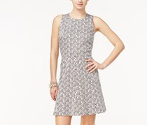 CeCe Sleeveless Printed Fit Flare Dress, Rich Black