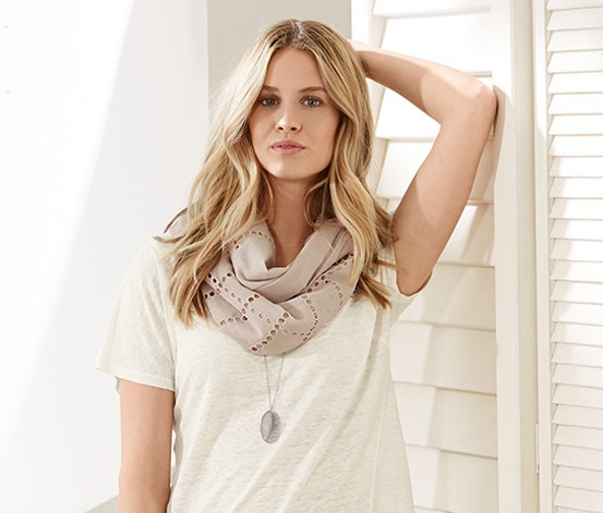 Womens Tube Scarf, Beige  Brands For Less