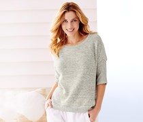 Women's Pullover, Shortsleeve Jumper, White/Gray