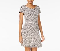 Maison Jules Printed Fit Flare Dress, Egret Combo