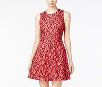 Maison Jules Lace Fit Flare Dress, Rouge Red Combo