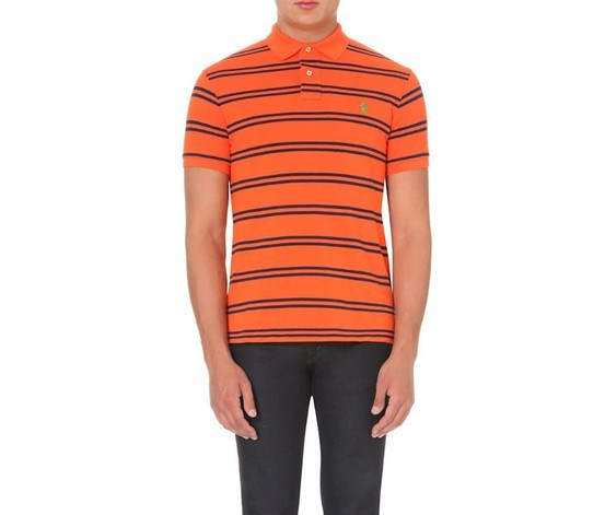 Mens Striped Polo Shirt,Jack O Lantern
