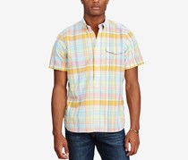 Polo Ralph Lauren Mens Standard-Fit Cotton Popover, Aqua/Orange
