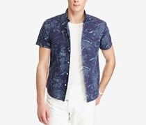 Ralph Lauren Men's Slim-Fit Printed Short Sleeve Shirt, Indigo