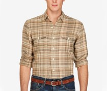 Ralph Lauren Men's Plaid Military Shirt, Fern Red