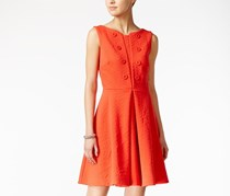 Maison Jules Embellished Jacquard Fit & Flare Dress, Top Tomato