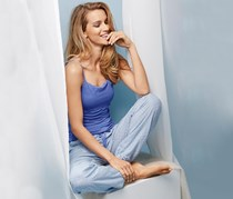 Women's Leisure Trousers, Light blue with alloverprint