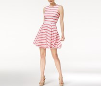 Maison Jules Striped Lace Fit Flare Dress, Berry Sorbet Combo