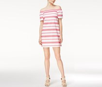 Maison Jules Striped Off-The-Shoulder Dress, Berry Sorbet Combo