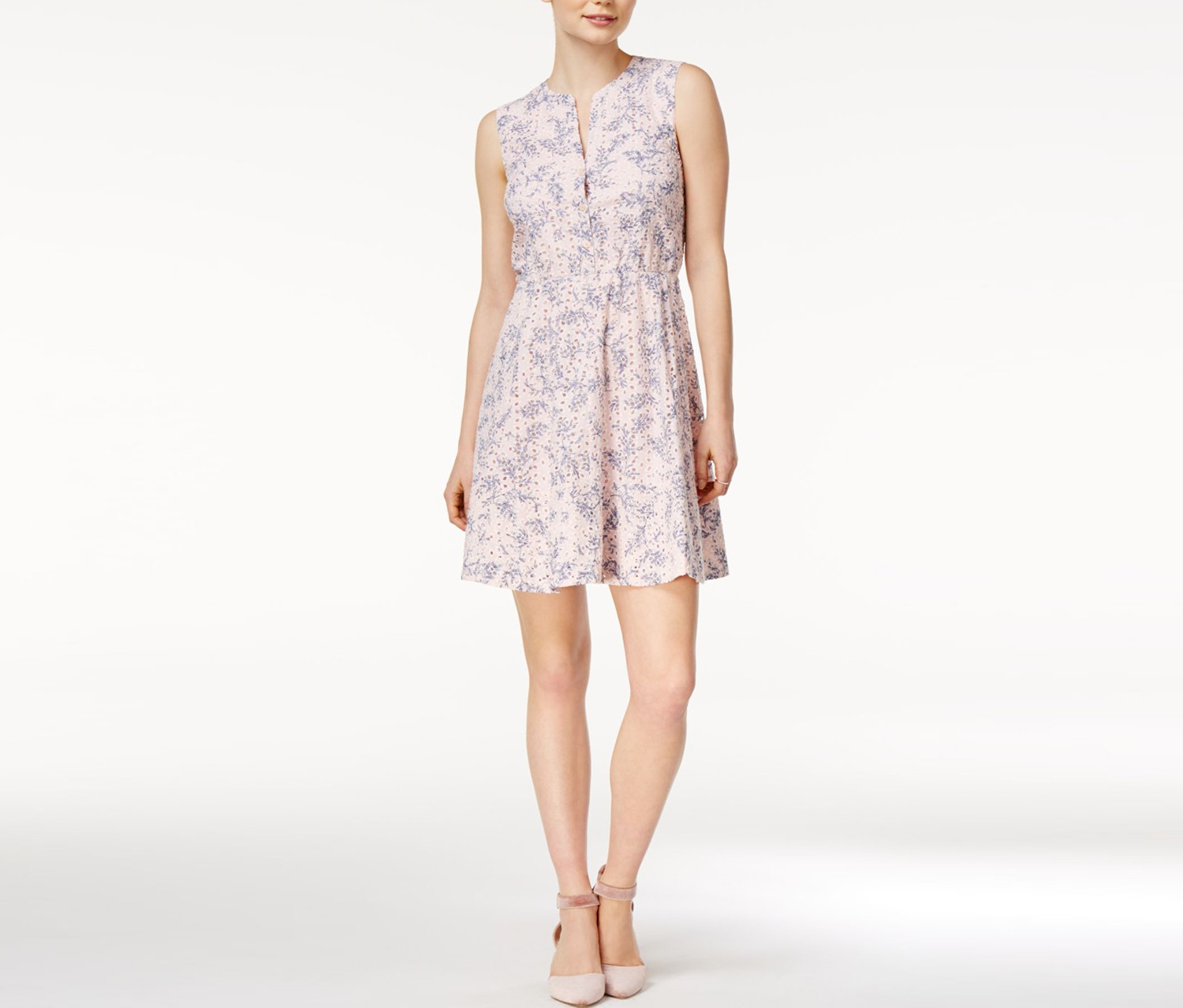 Printed Eyelet Fit Flare Dress, Soft Shell Combo