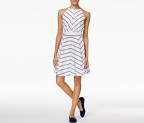 Maison Jules Kimberly Striped Dress, Bright White Combo