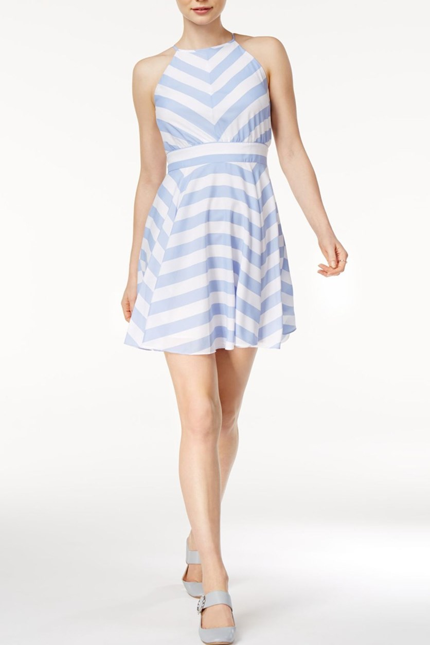 Kimberly Striped Fit Flare Dress, Lavender Lust Combo