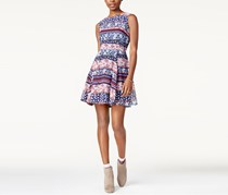 Maison Jules Floral Printed Fit & Flare Dress, Blu Notte Combo