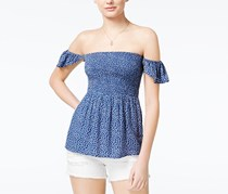 American Rag Printed Off-The-Shoulder Top, Bright Cobalt