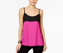 Inc International Concepts Pleated Colorblocked Top, Magenta Flame