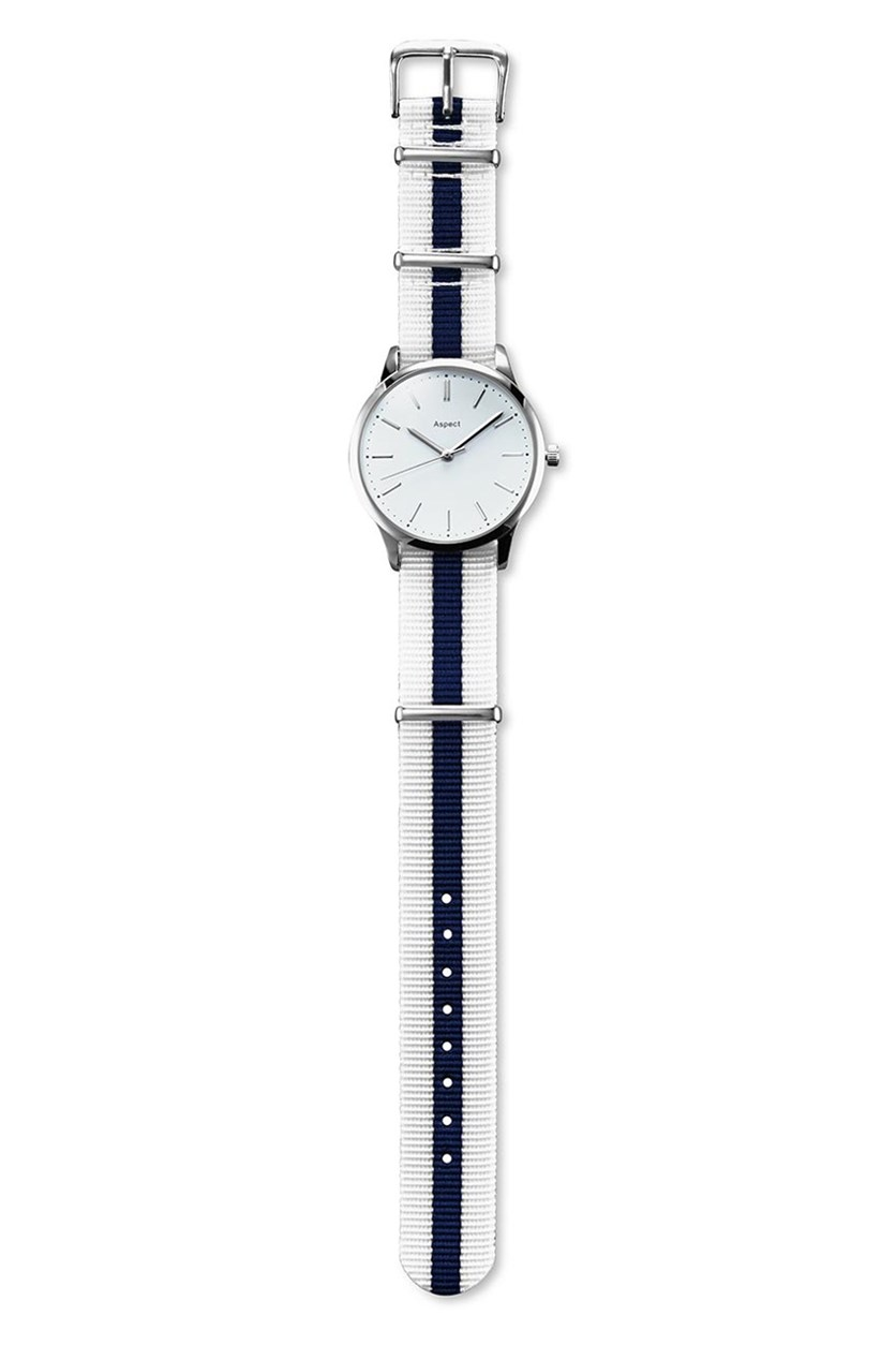 Women's Watch, White/Blue Strap