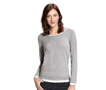 Women's Longsleeve Shirt, Gray/White