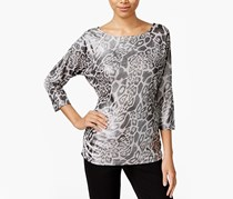 Inc International Concepts Ruched Animal-Print Top, Leopard Wave