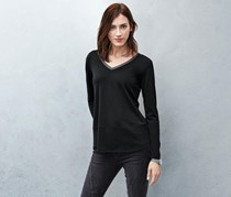 Women's Shirt V-Neck, Black